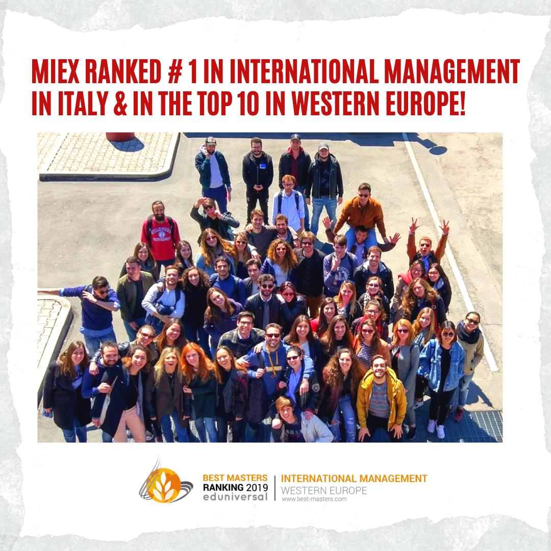 MIEX #1 in 2019 Eduniversal Best Masters Ranking