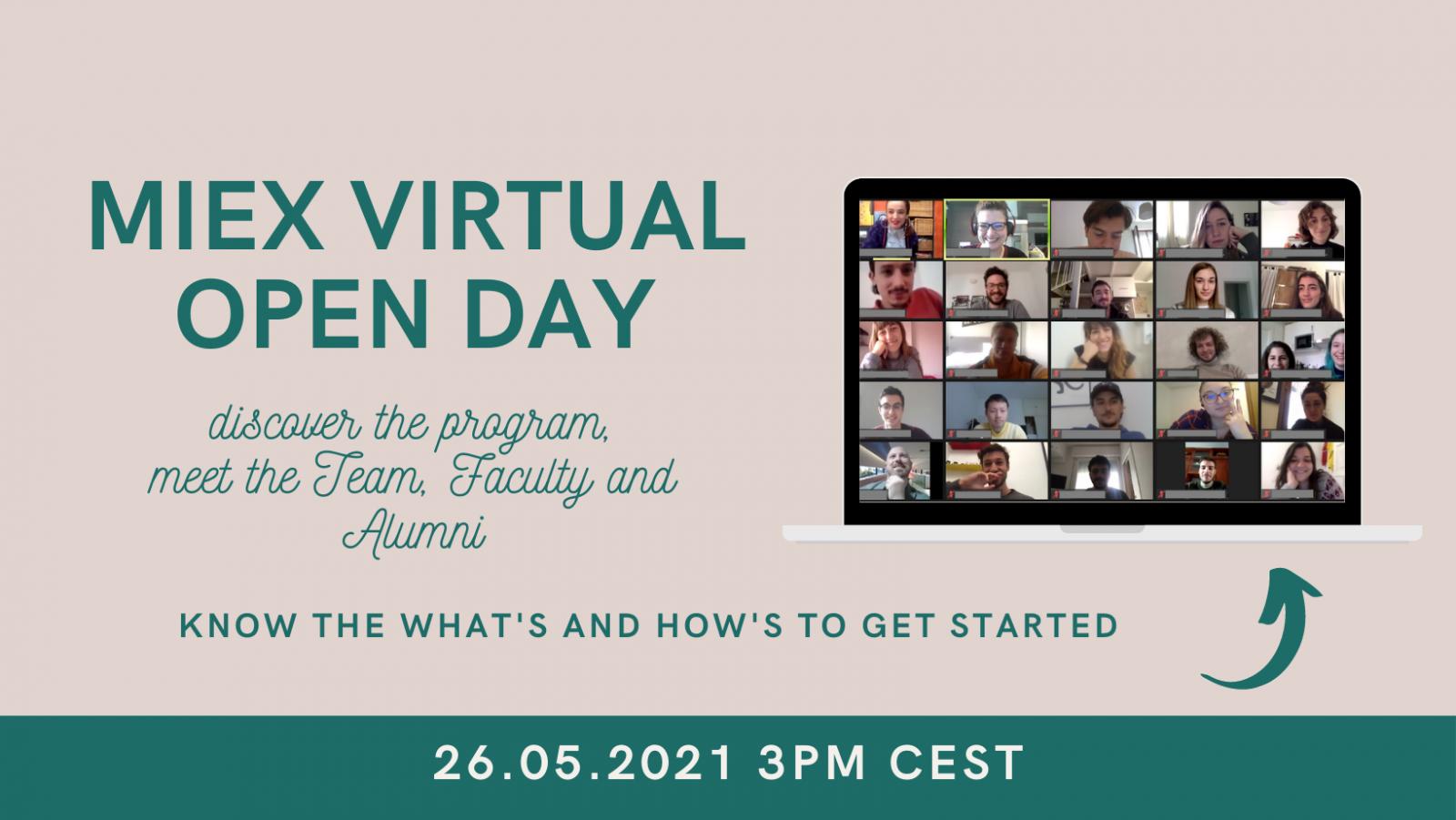 MIEX Virtual Open Day, May 26th 2021